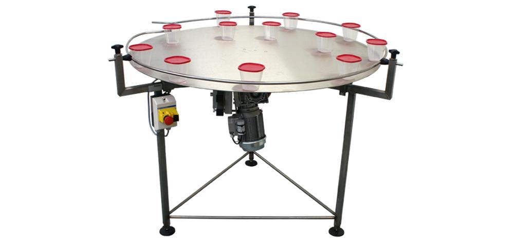 Buffertafel met product geleidering