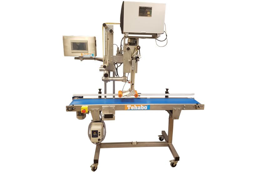 Gebruikte BRU2500 etiketteermachine met Toshiba SX5 printer en transportband